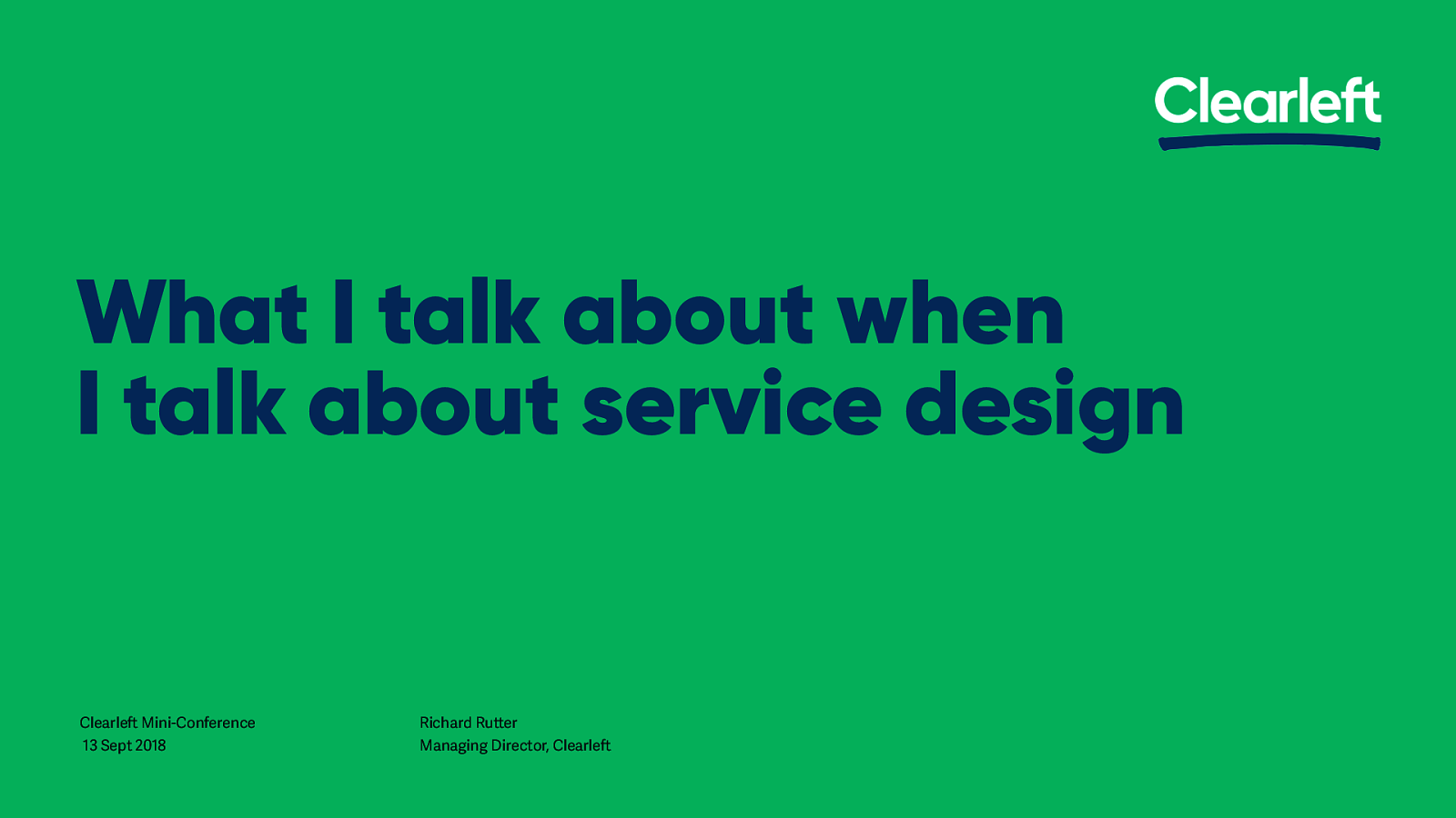 What I talk about when I talk about service design