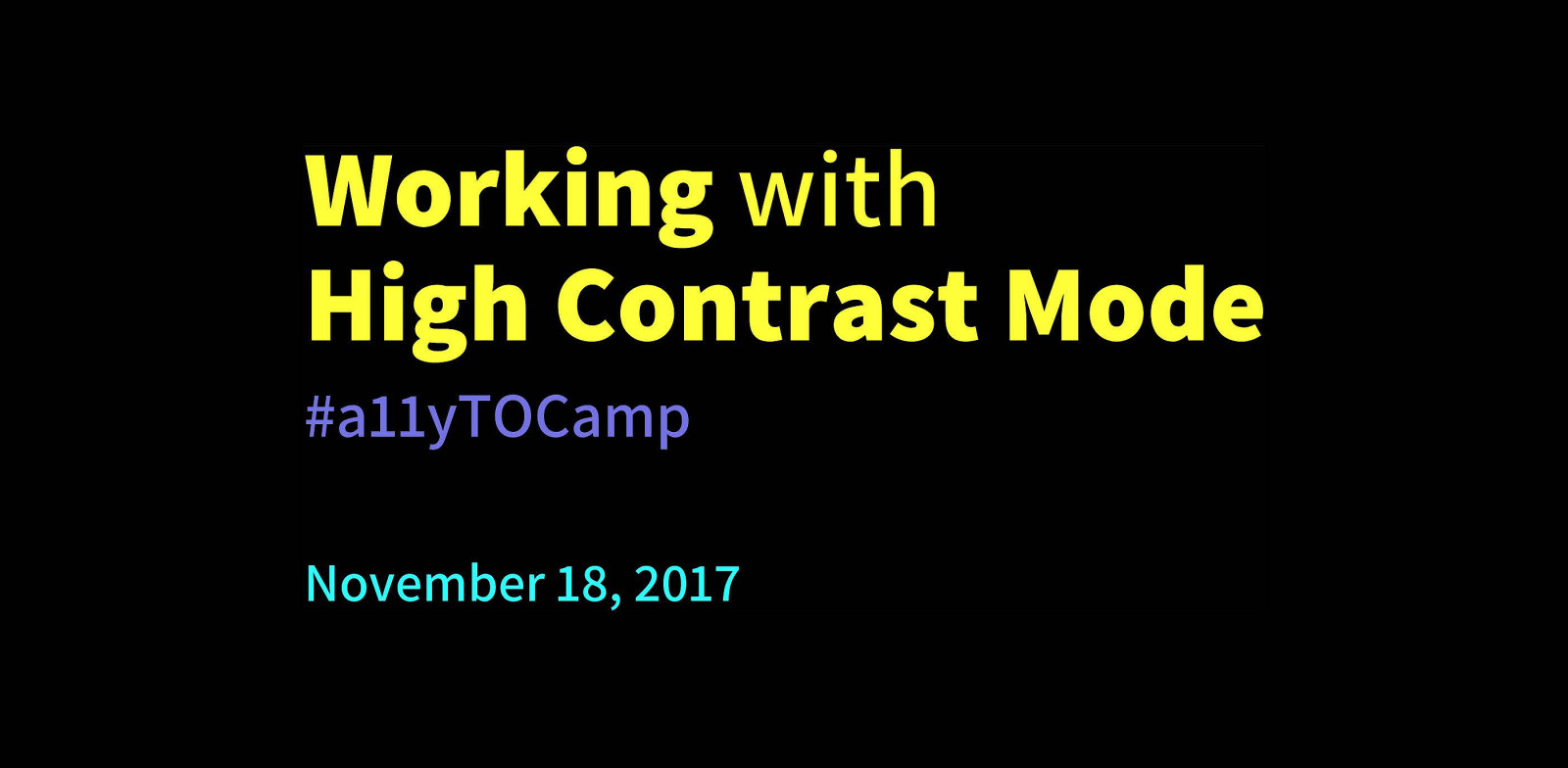 Working with High Contrast Mode