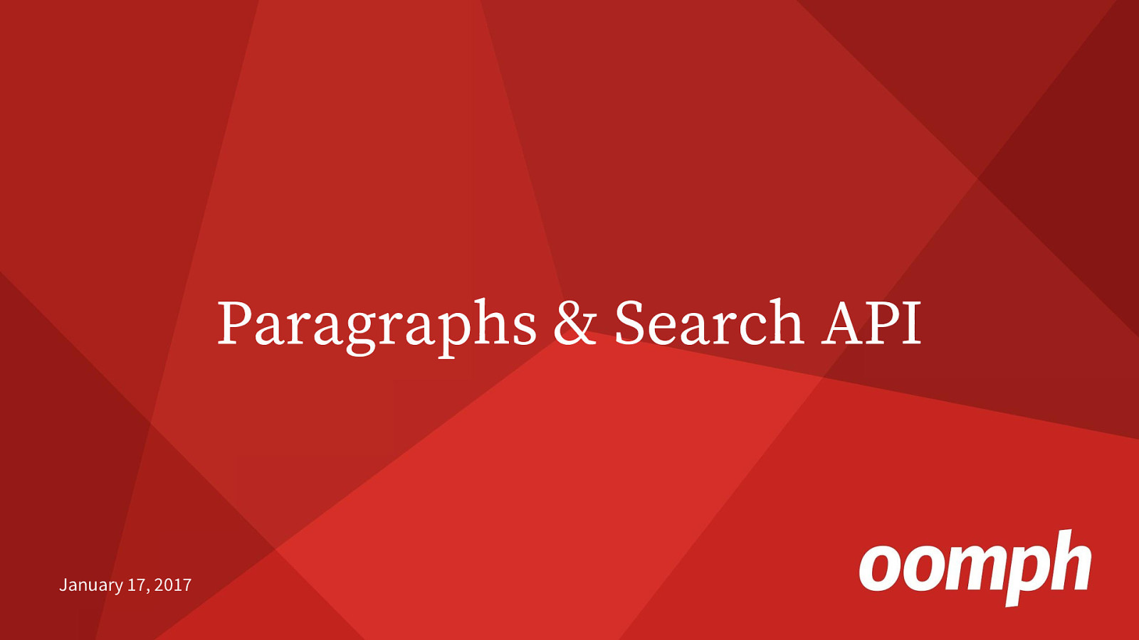 Paragraphs & Search API