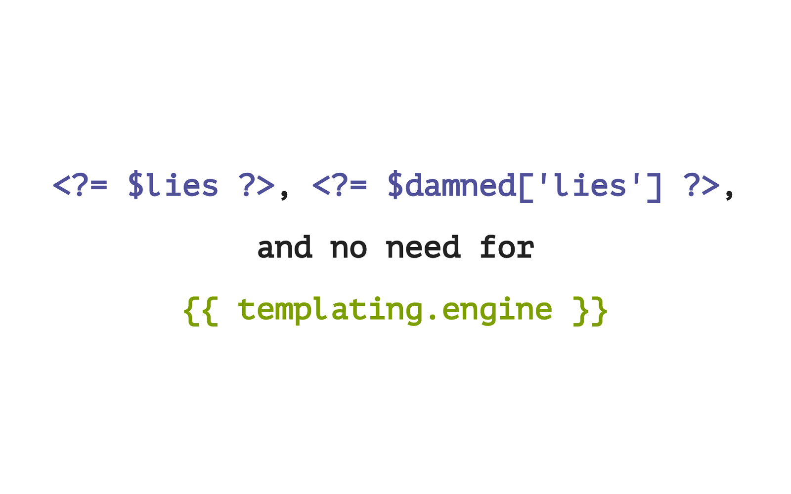 Lies, Damned Lies, and No Need for Templating Engine