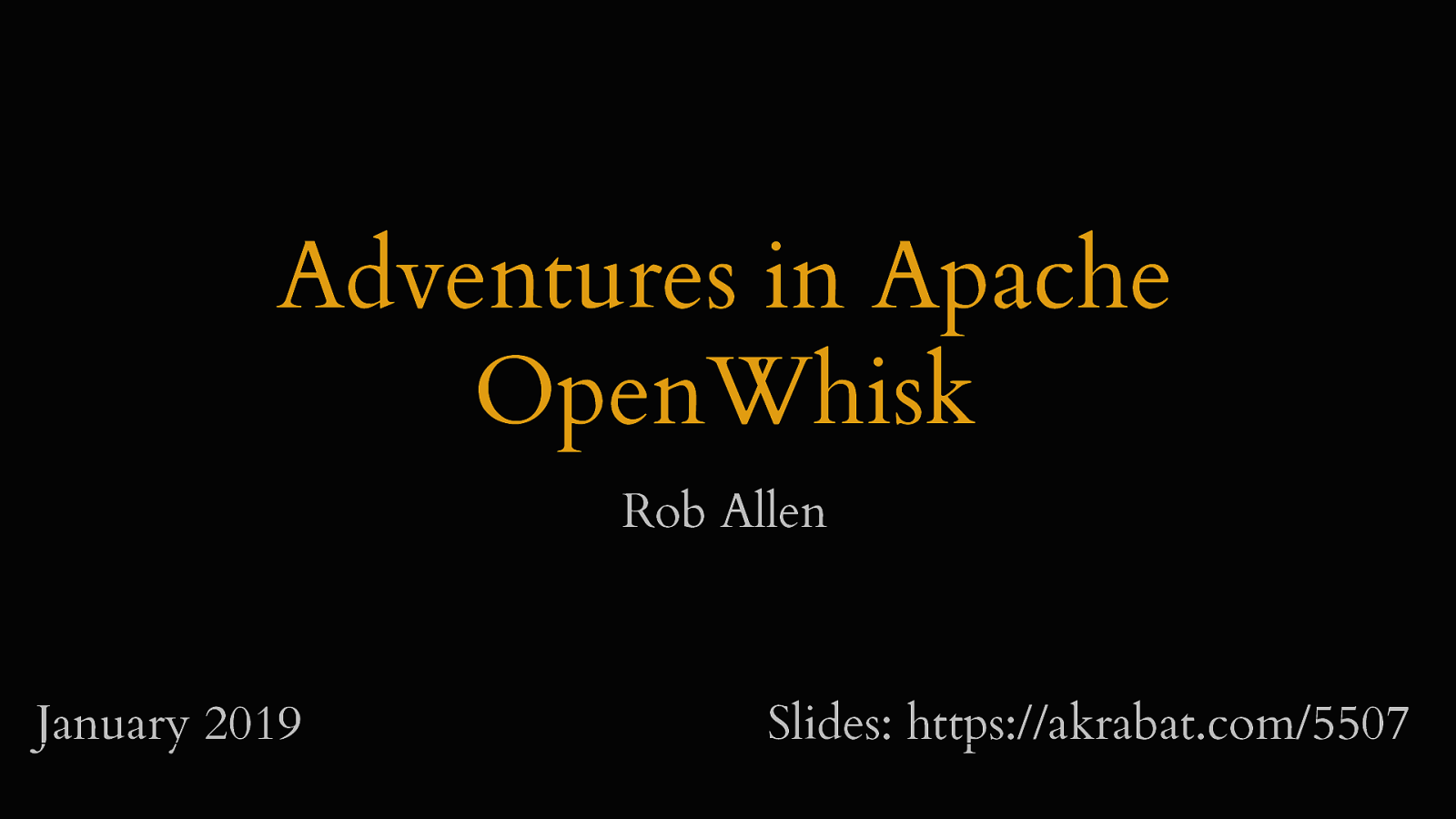 Adventures in Apache OpenWhisk
