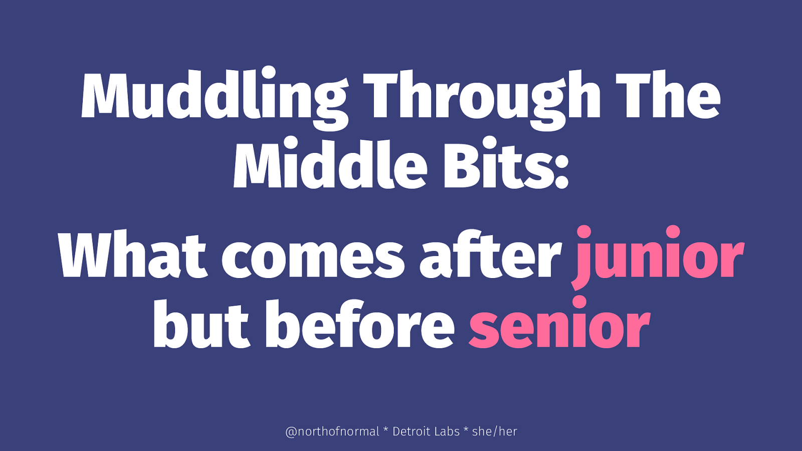 Muddling Through The Middle Bits: What comes after junior but before senior