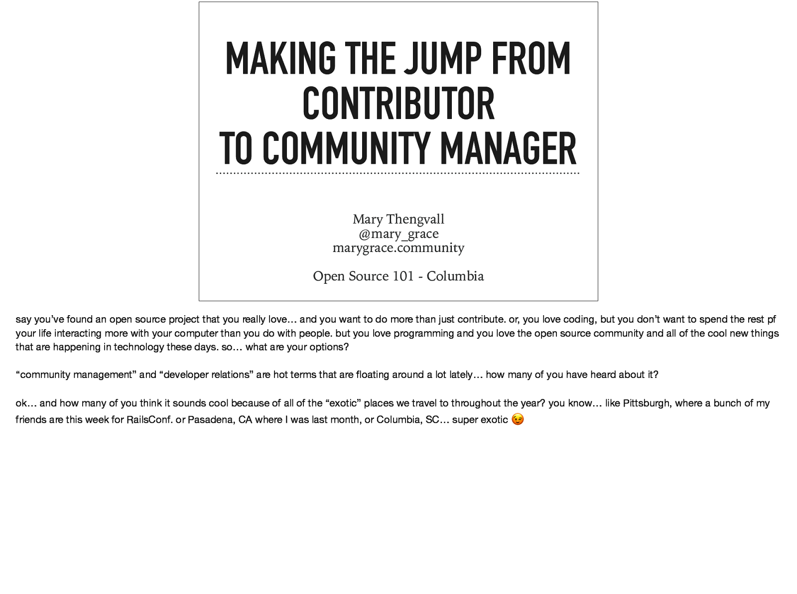 Making the Jump from Contributor to Community Manager