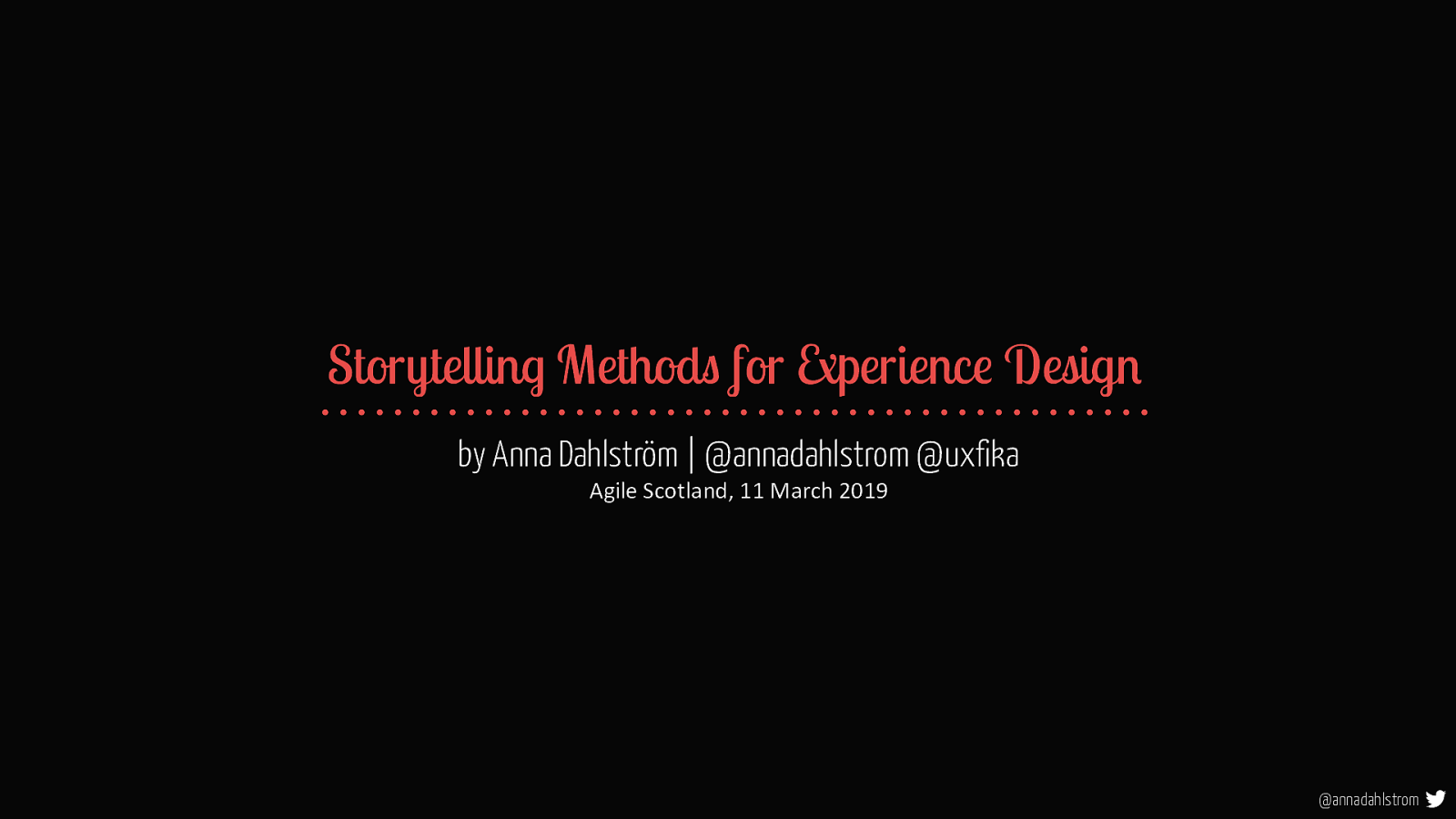 Storytelling Methods For Experience Design - Agile Scotland