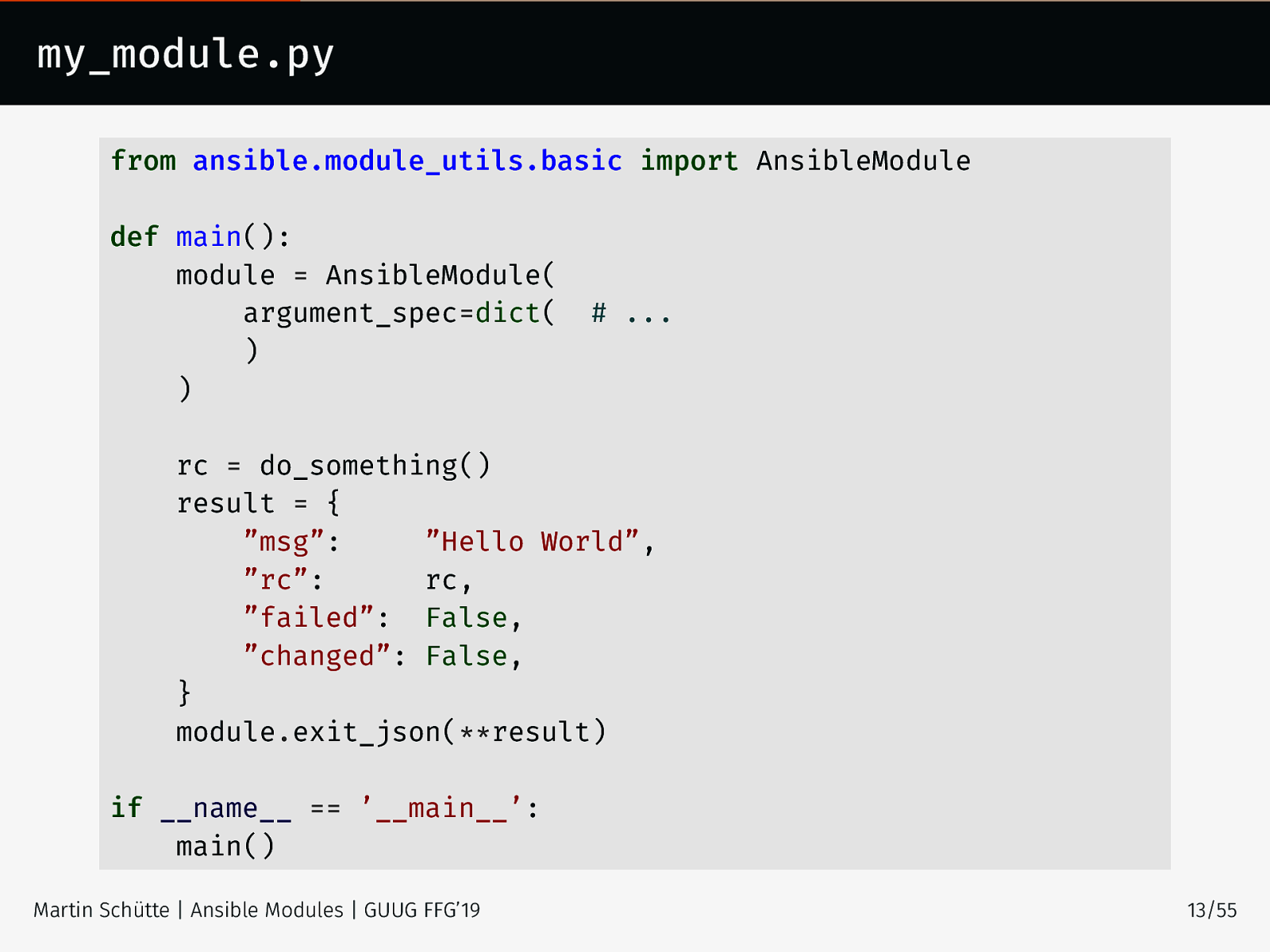 Writing Ansible Modules