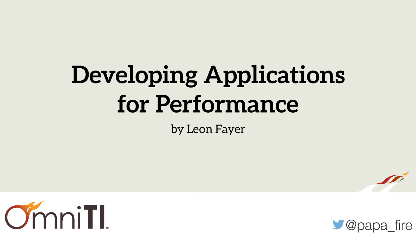Developing Applications for Performance
