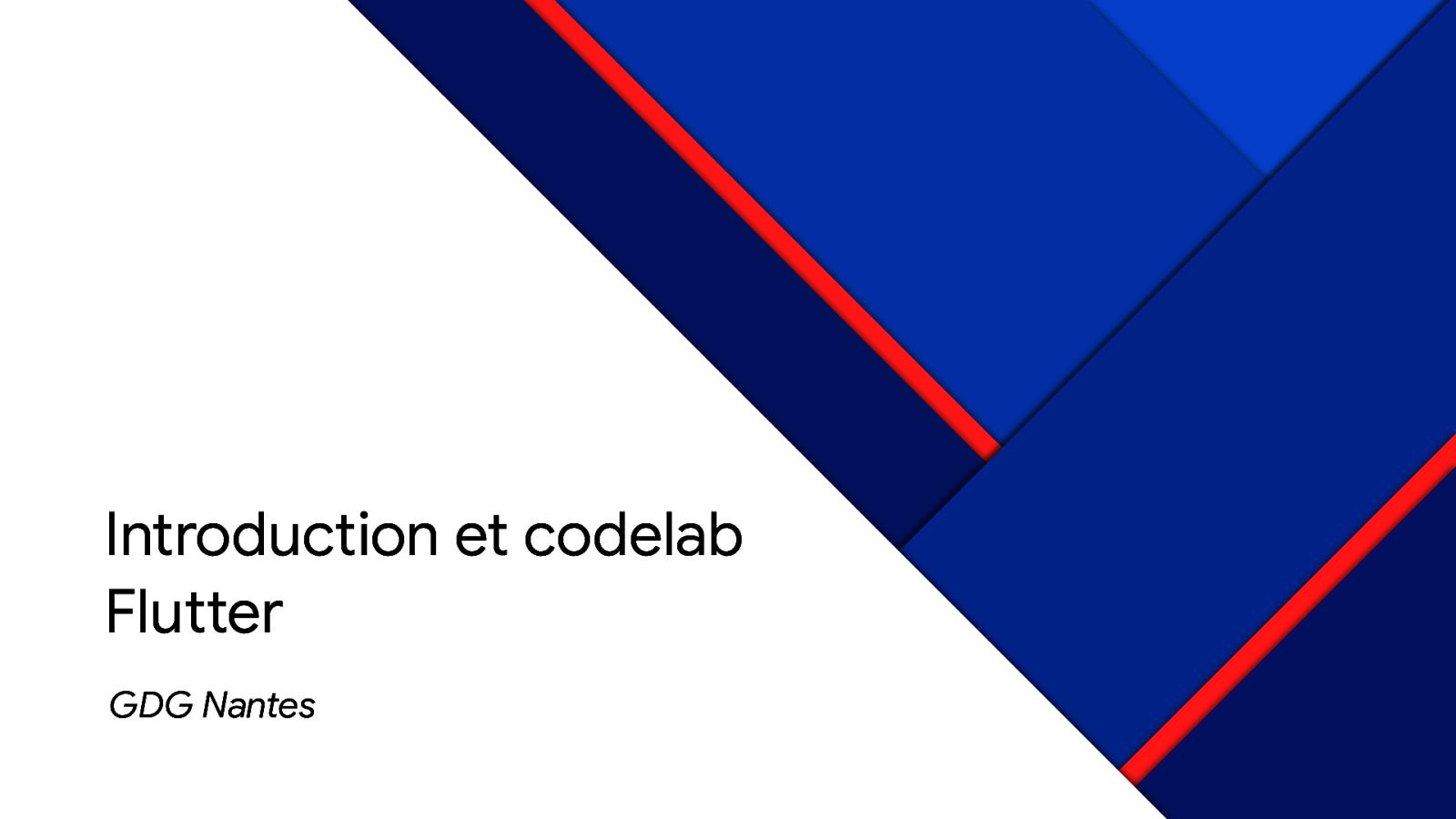 Introduction et codelab Flutter