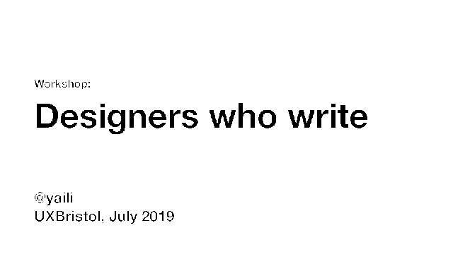 Designers who write [workshop]