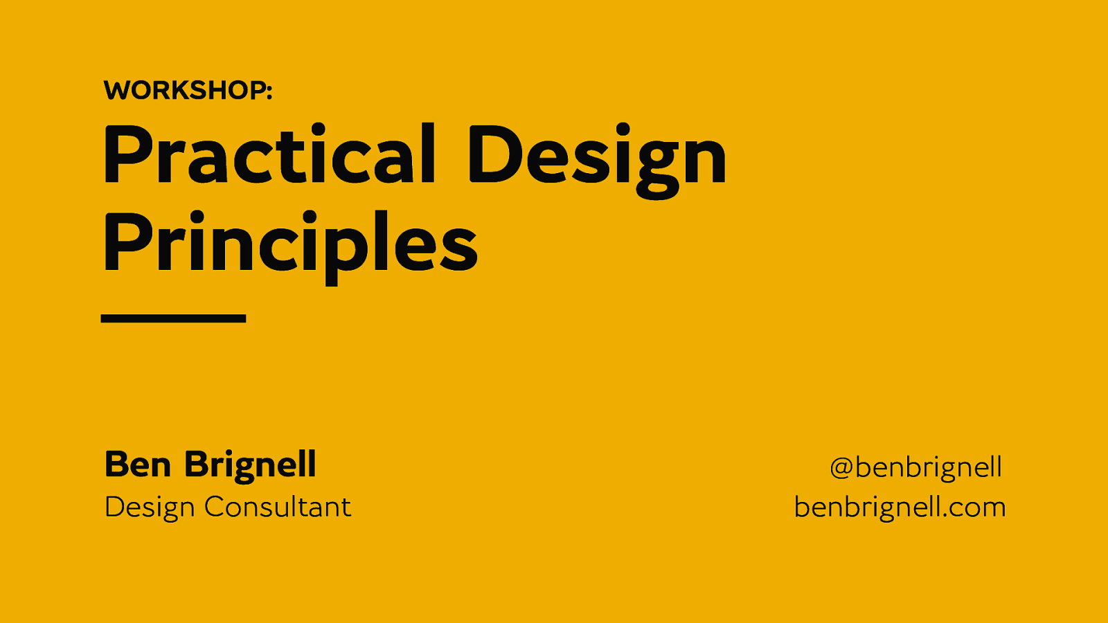 Practical Design Principles