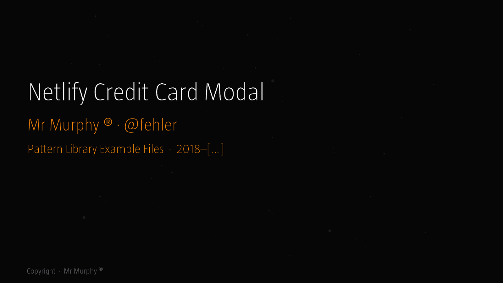 Pattern Library · Netlify Credit Card Modal
