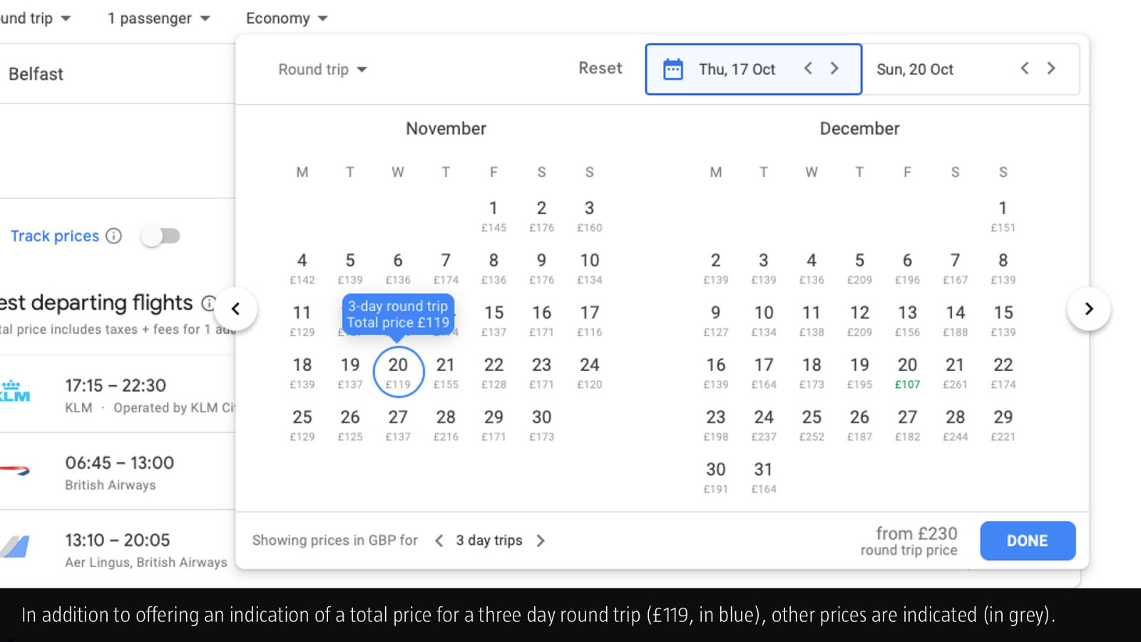 Pattern Library · Google Flights Date Picker