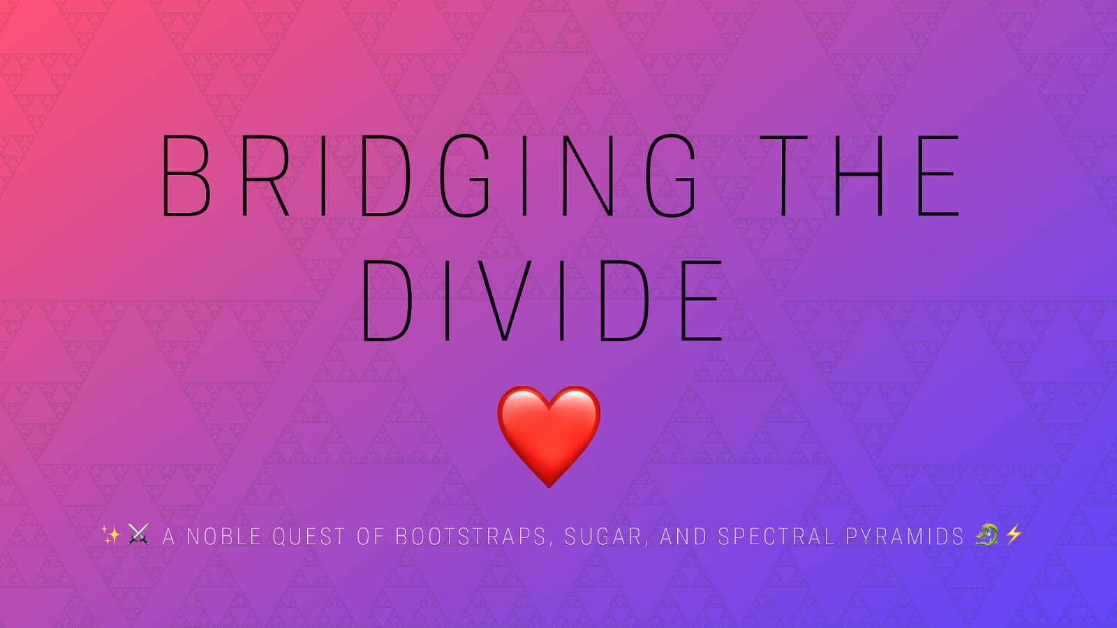 Bridging the Divide: a noble quest of bootstraps, sugar, and spectral pyramids