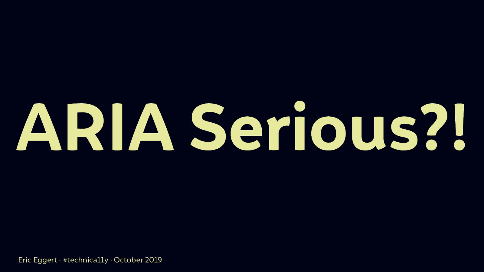 ARIA Serious?!