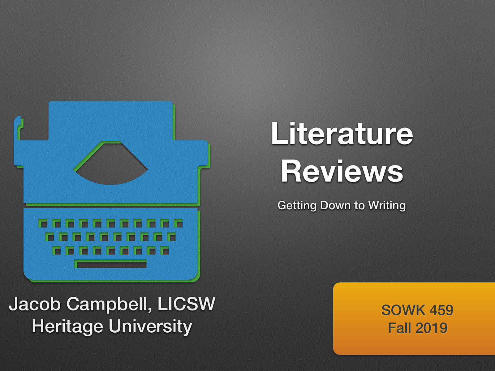 Week 09 - Literature Reviews: Getting Down to Writing
