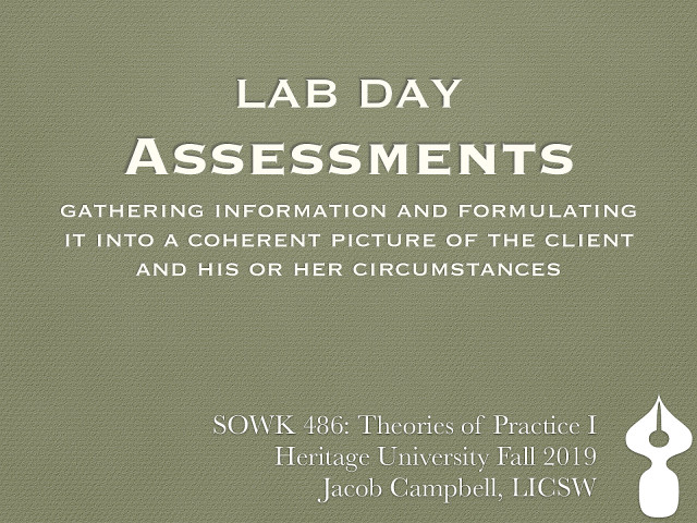 Week 09 - Lab Day - Assessments
