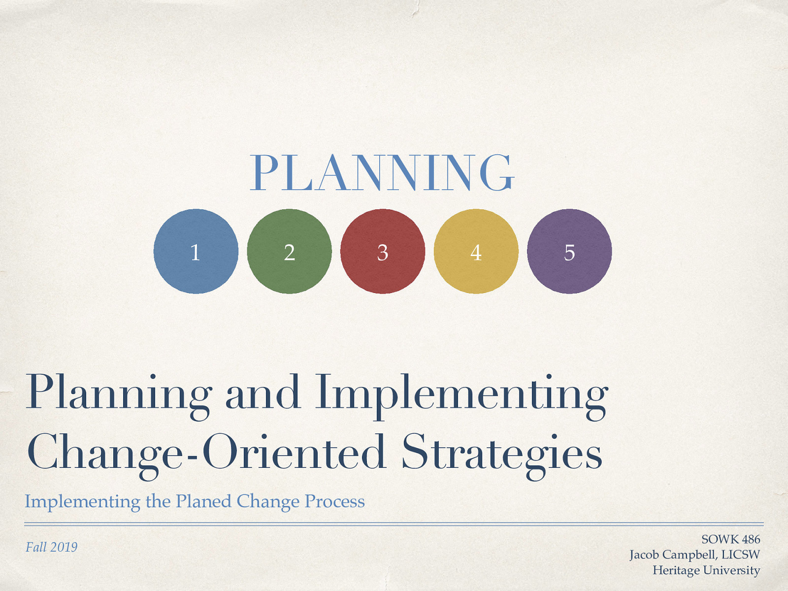 Planning and Implementing Change-Oriented Strategies