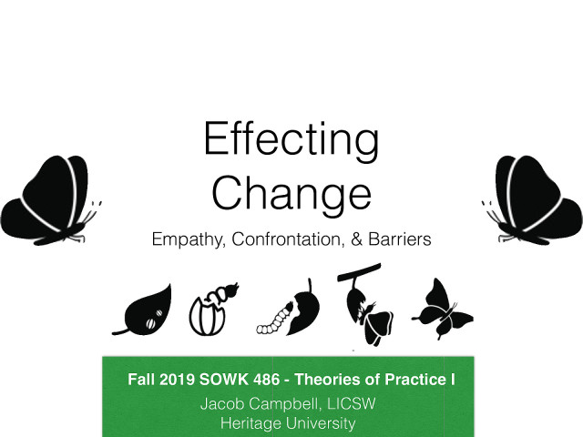 Week 12: Effecting Change - Empathy, Confrontation, & Barriers