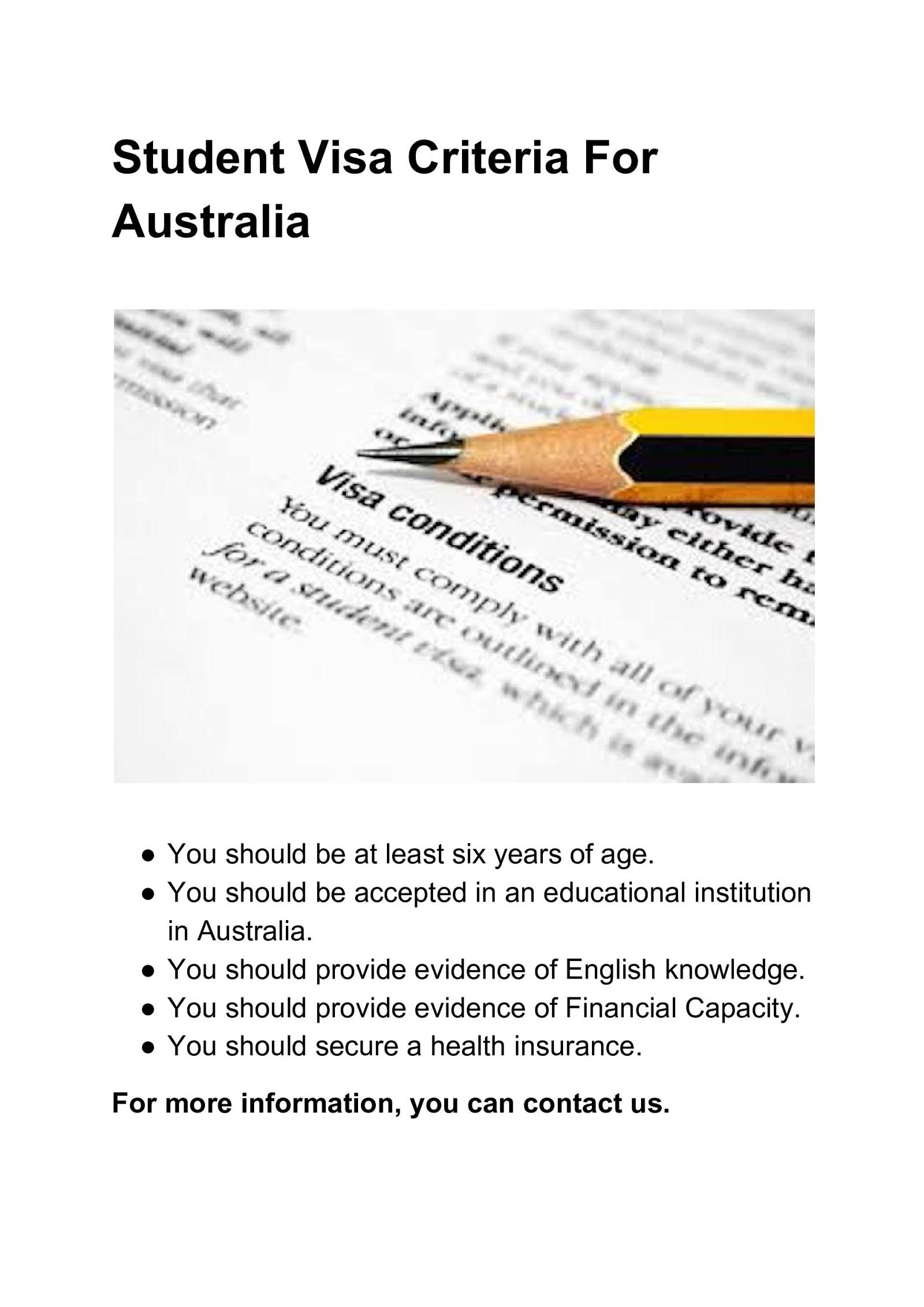 Student Visa Criteria For Australia