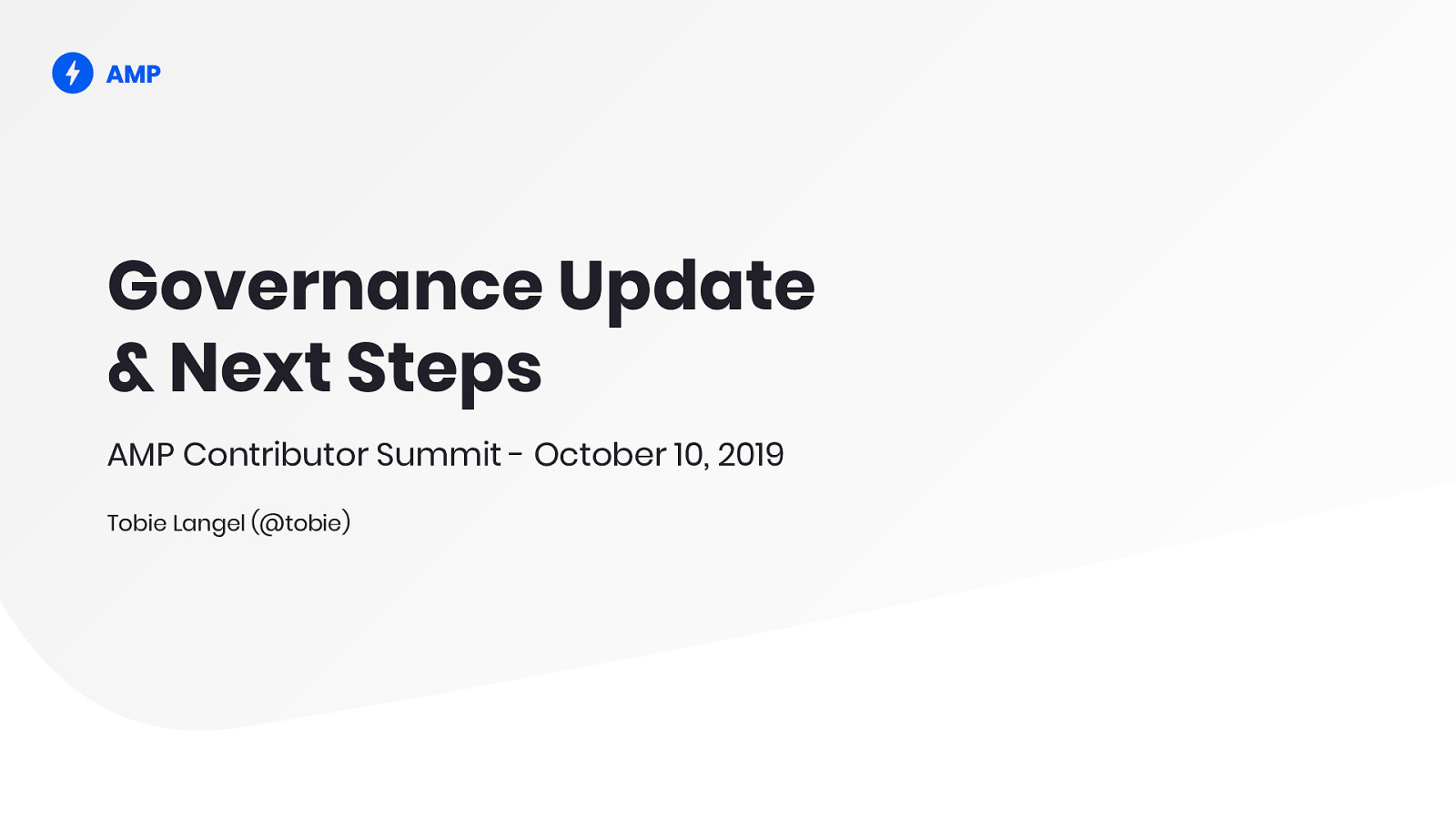 Governance Update & Next Steps