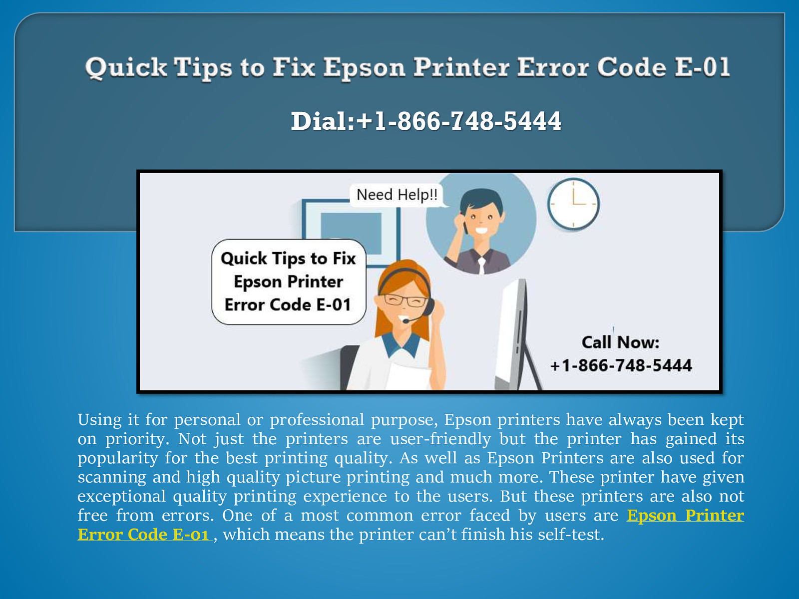 Repair Epson Printer Error Code E-01| Call: +1(866)748-5444