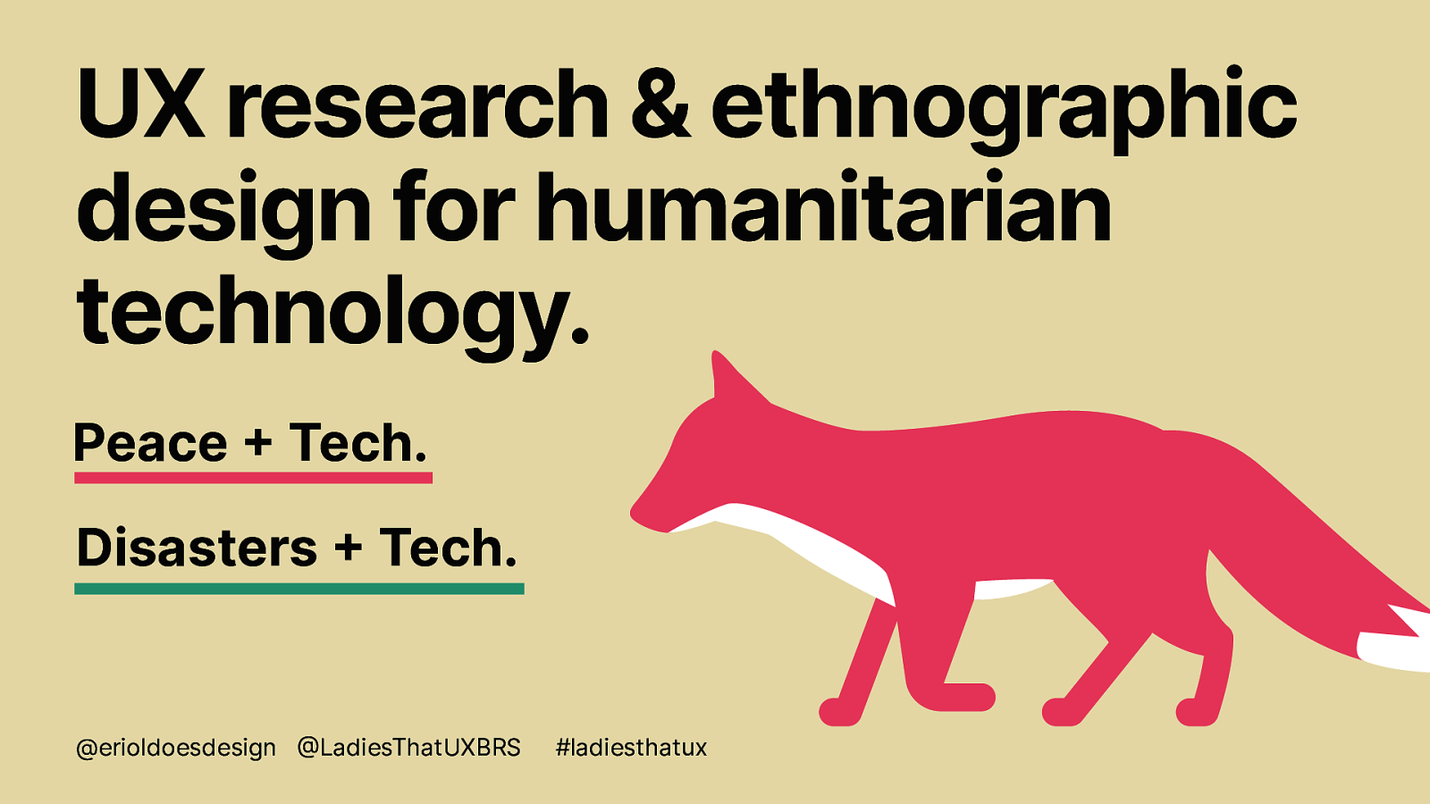 UX research & ethnographic design for humanitarian technology.