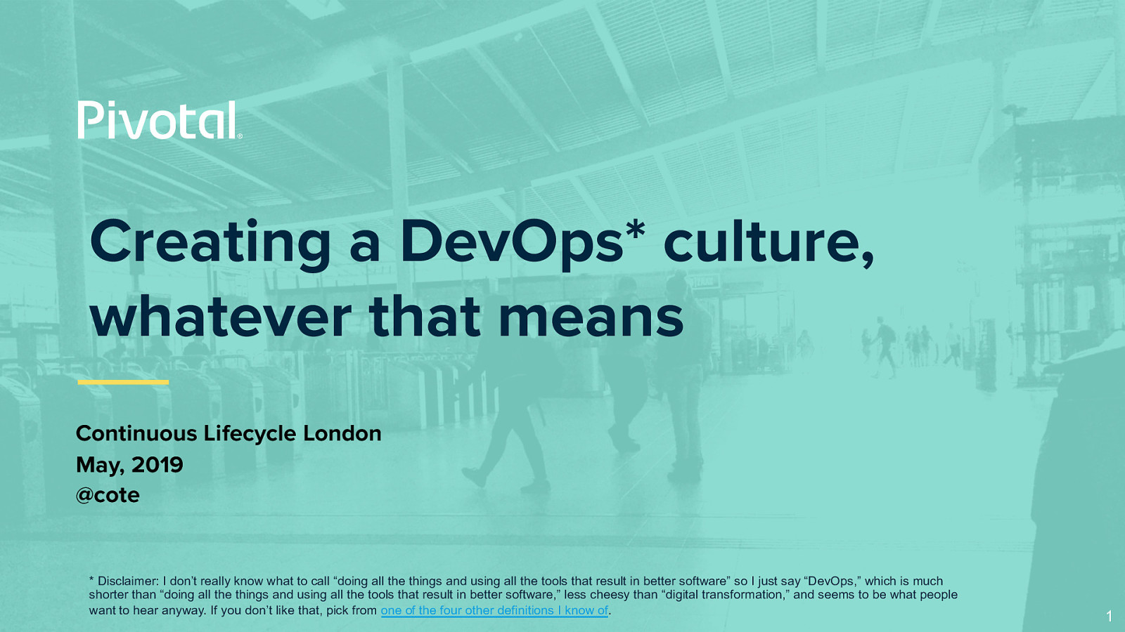 Creating a DevOps culture, whatever that means