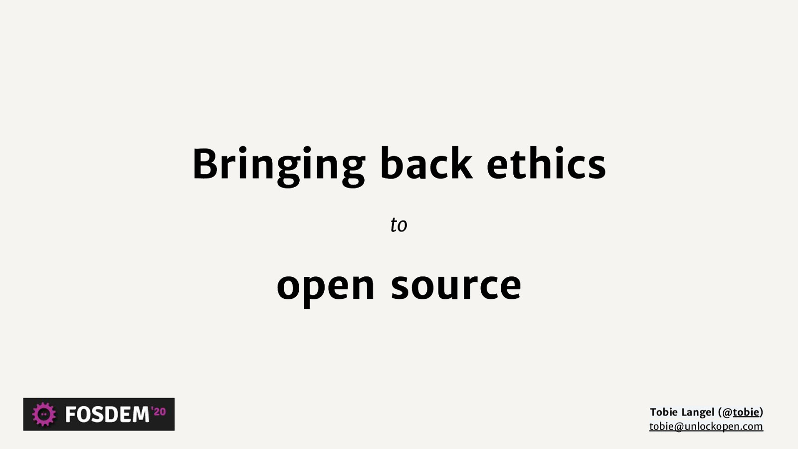 Bringing ethics back to open source