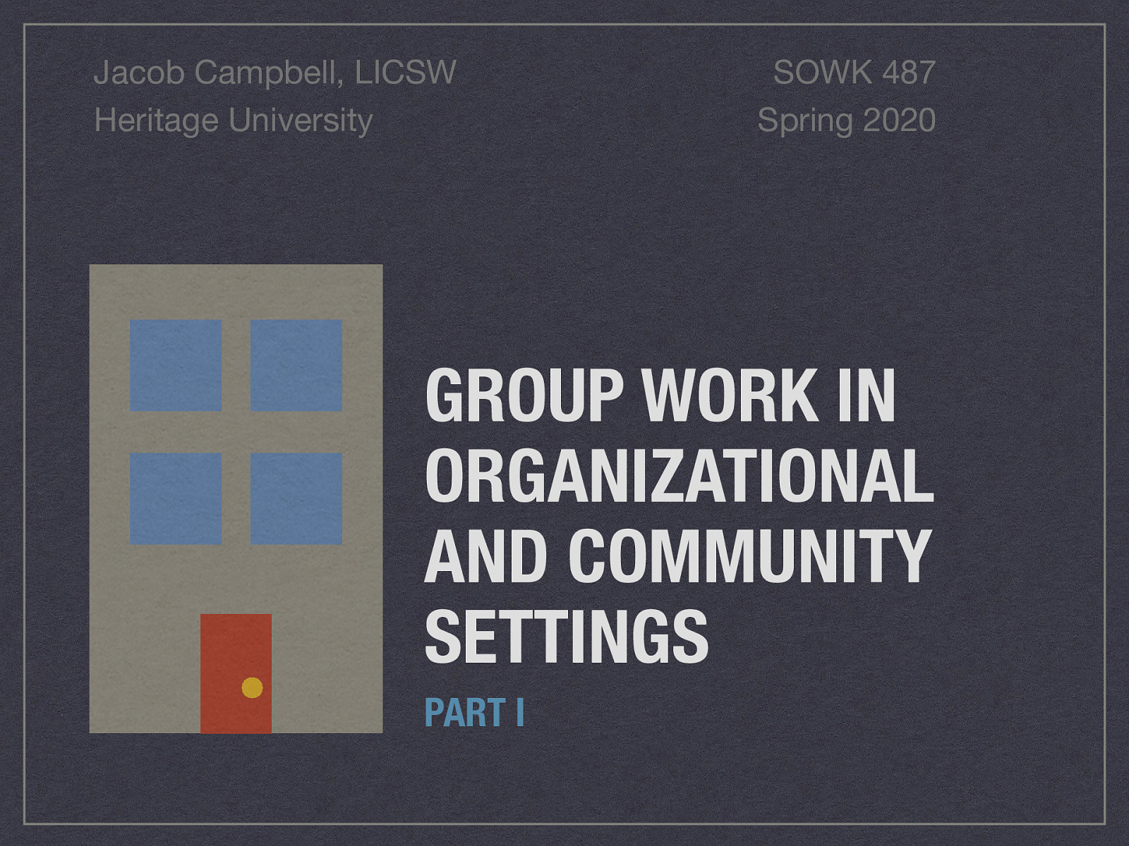 Week 14 - Group Work in Organizational and Community Settings Part I