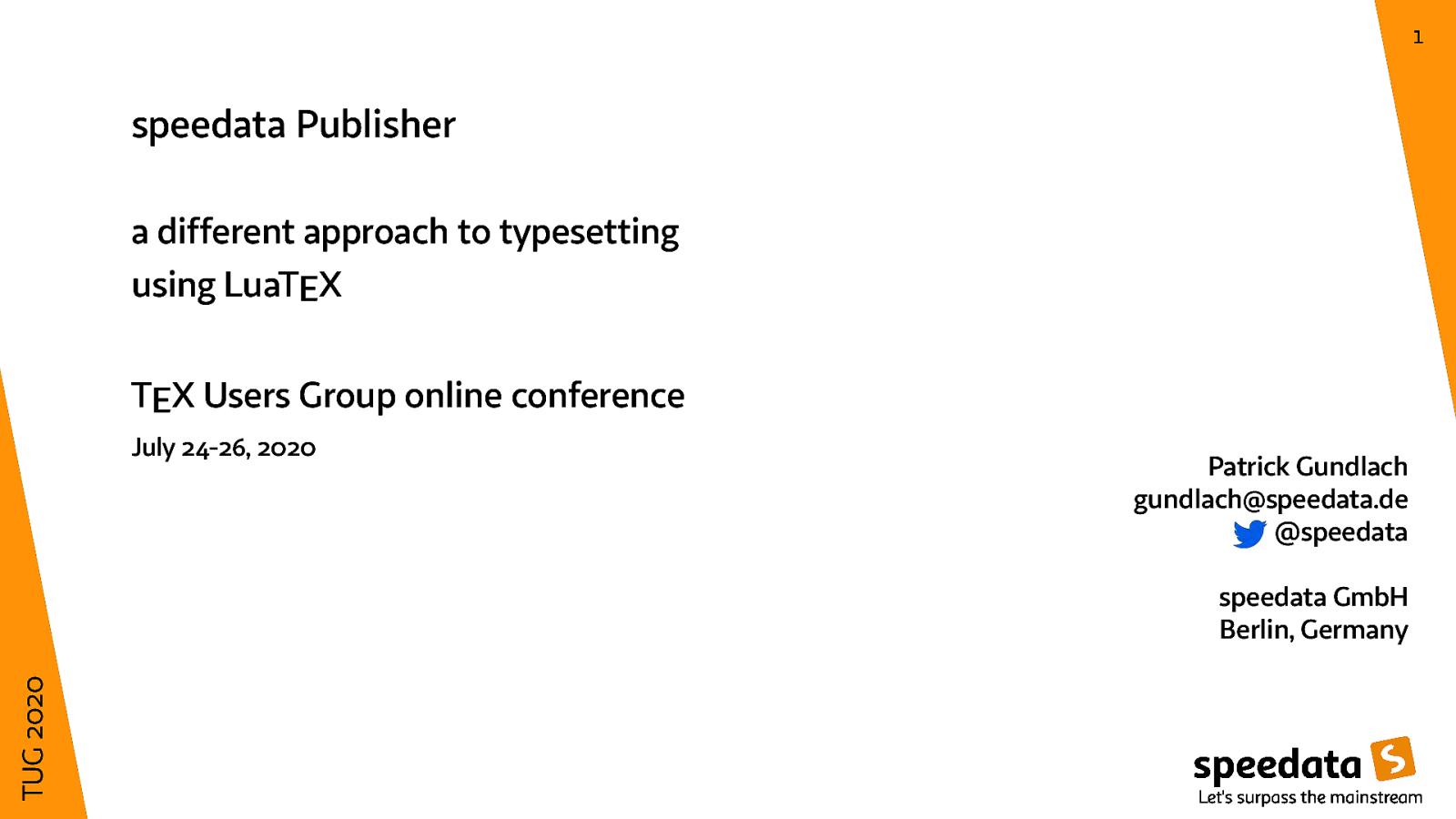 speedata Publisher - database publishing