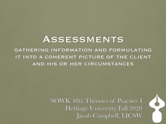 Week 08: Assessment in Social Work