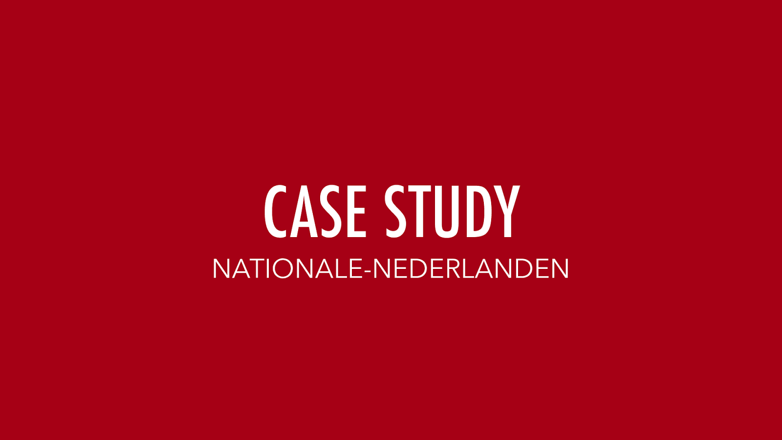 Case Study: Nationale Nederlanden