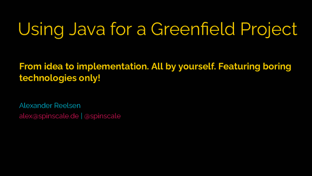Up and running with a Java based greenfield side project