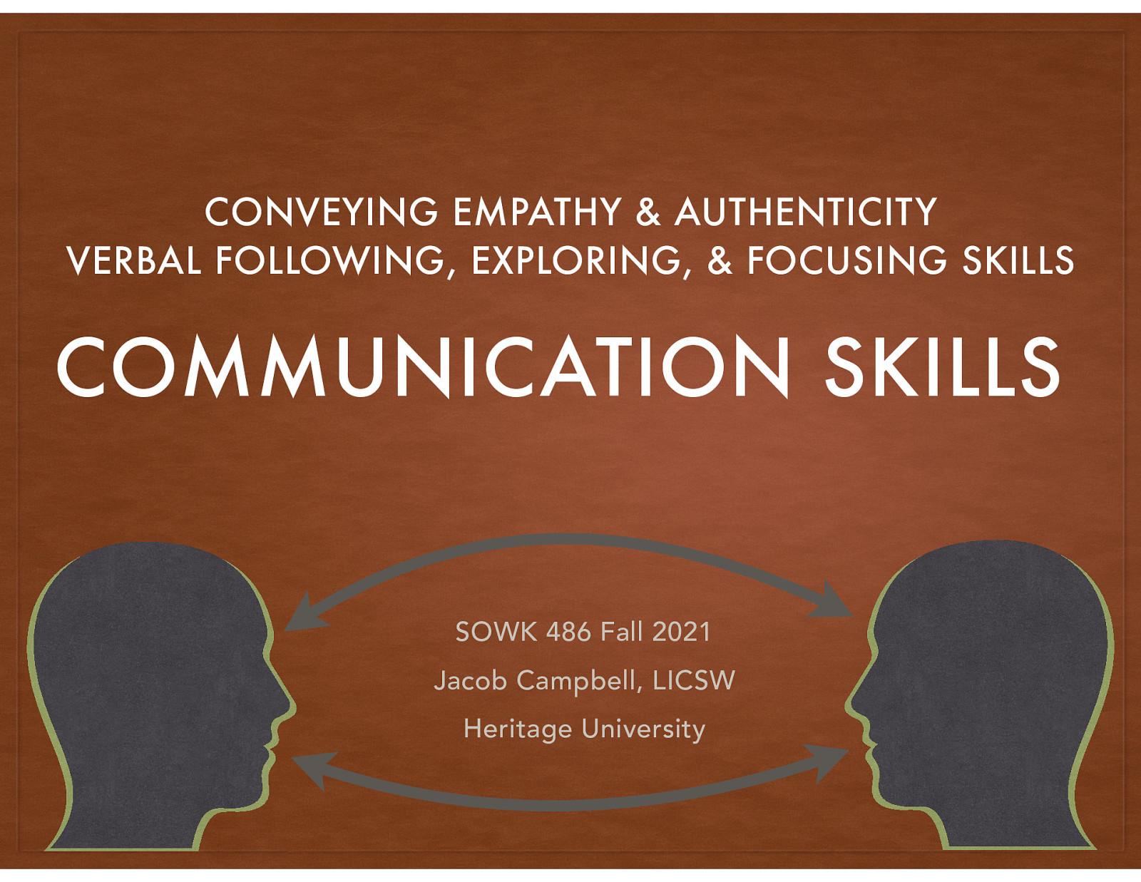 SOWK 486 - Week 05 - Communication Skills