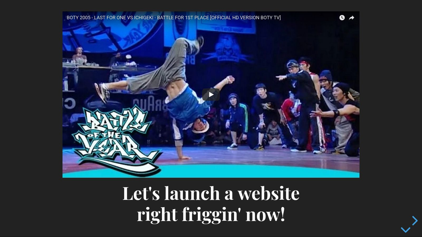 Let's launch a website, right friggin' now!
