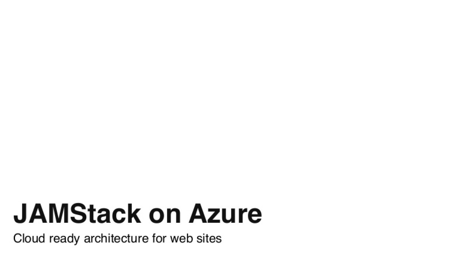 JAMStack on Azure