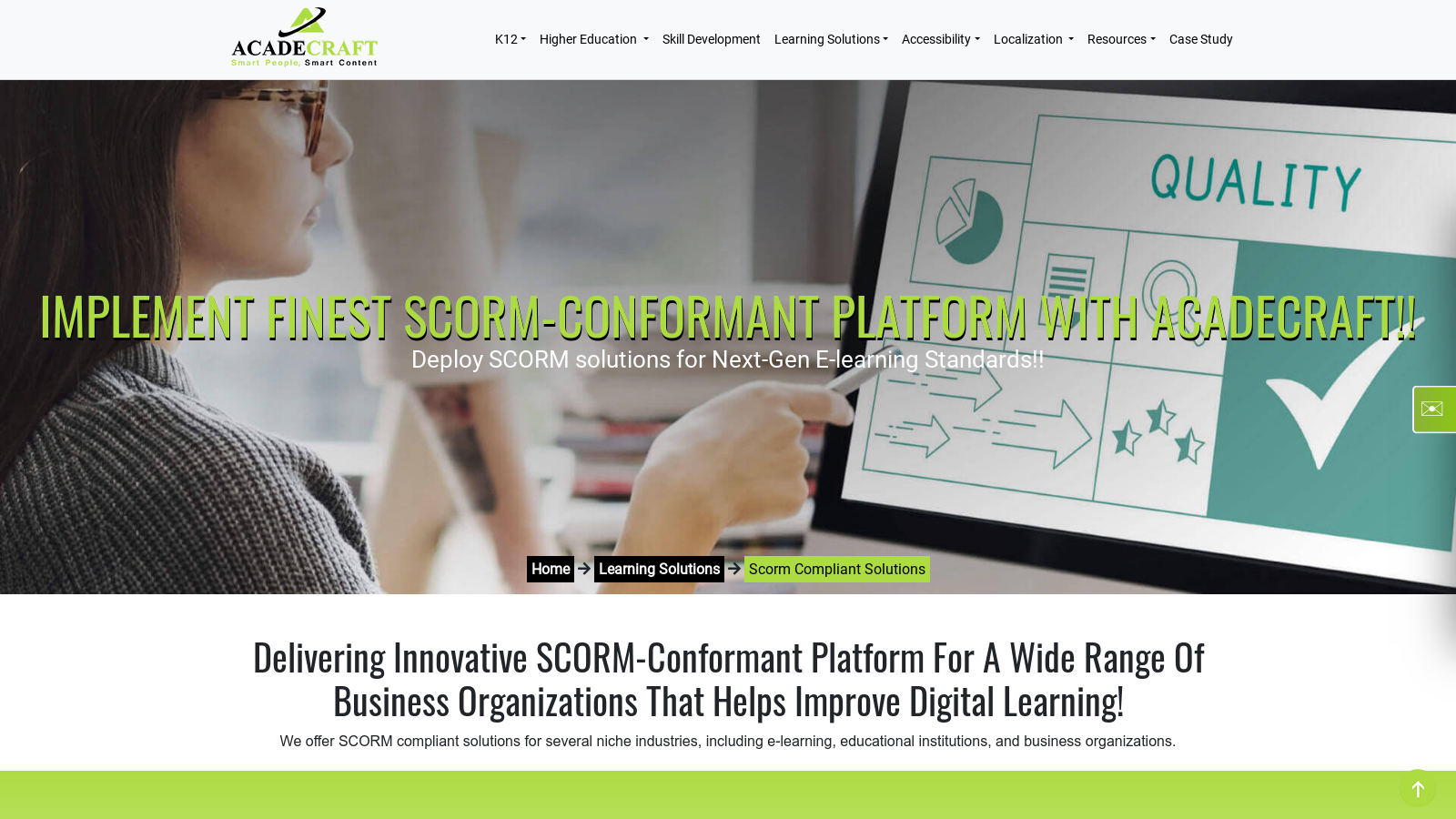 SCORM compliant learning management system