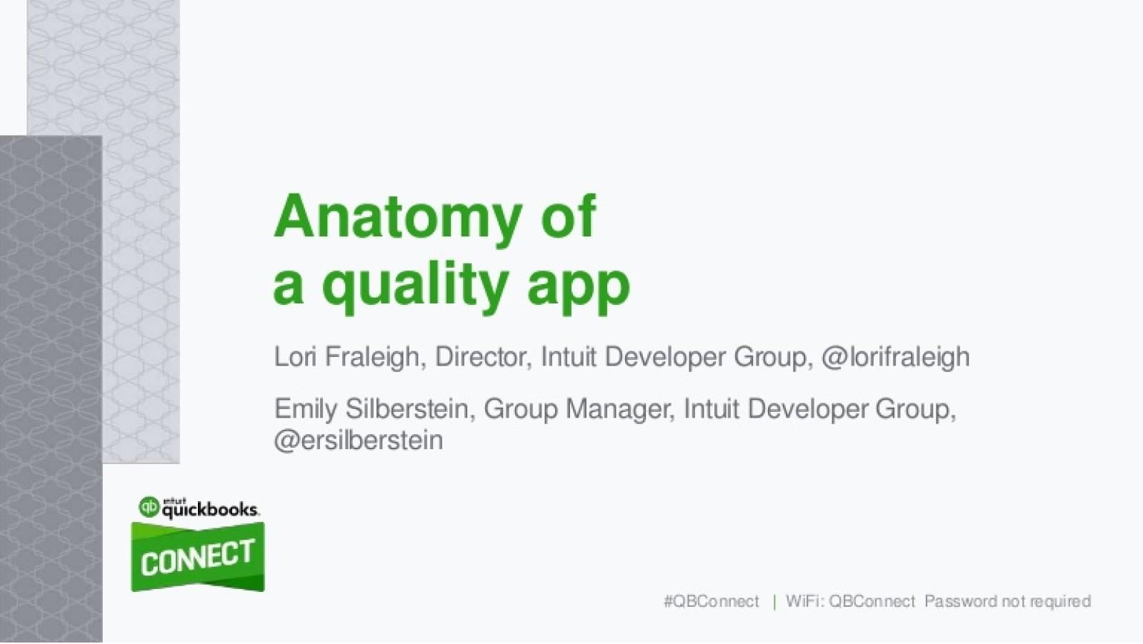 Anatomy of a Quality App