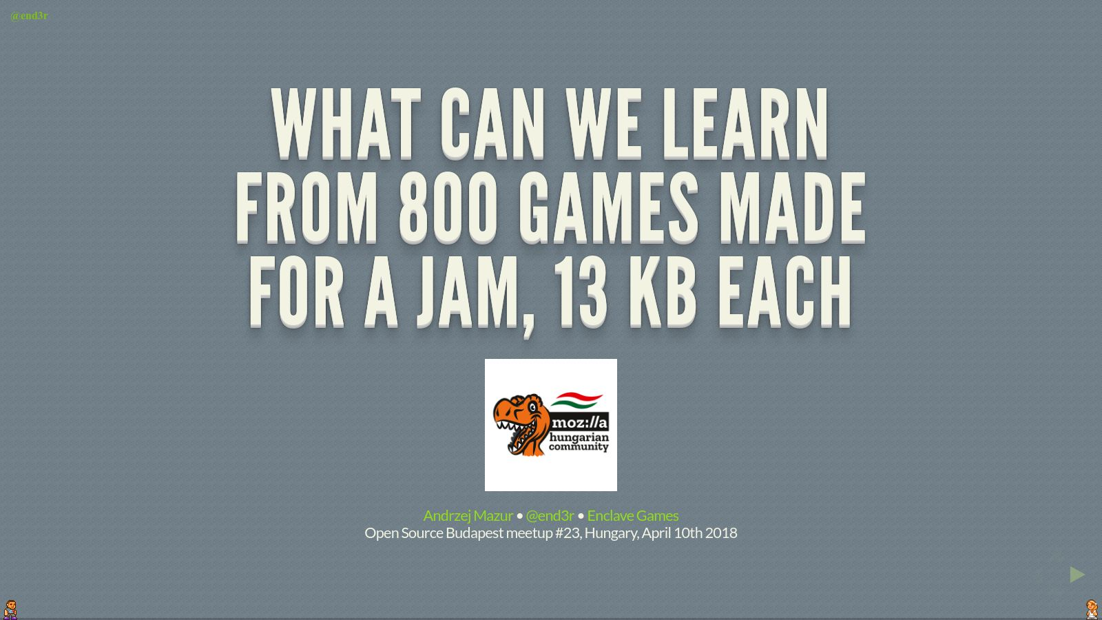 What can we learn from 800 games made for a jam, 13 kb each