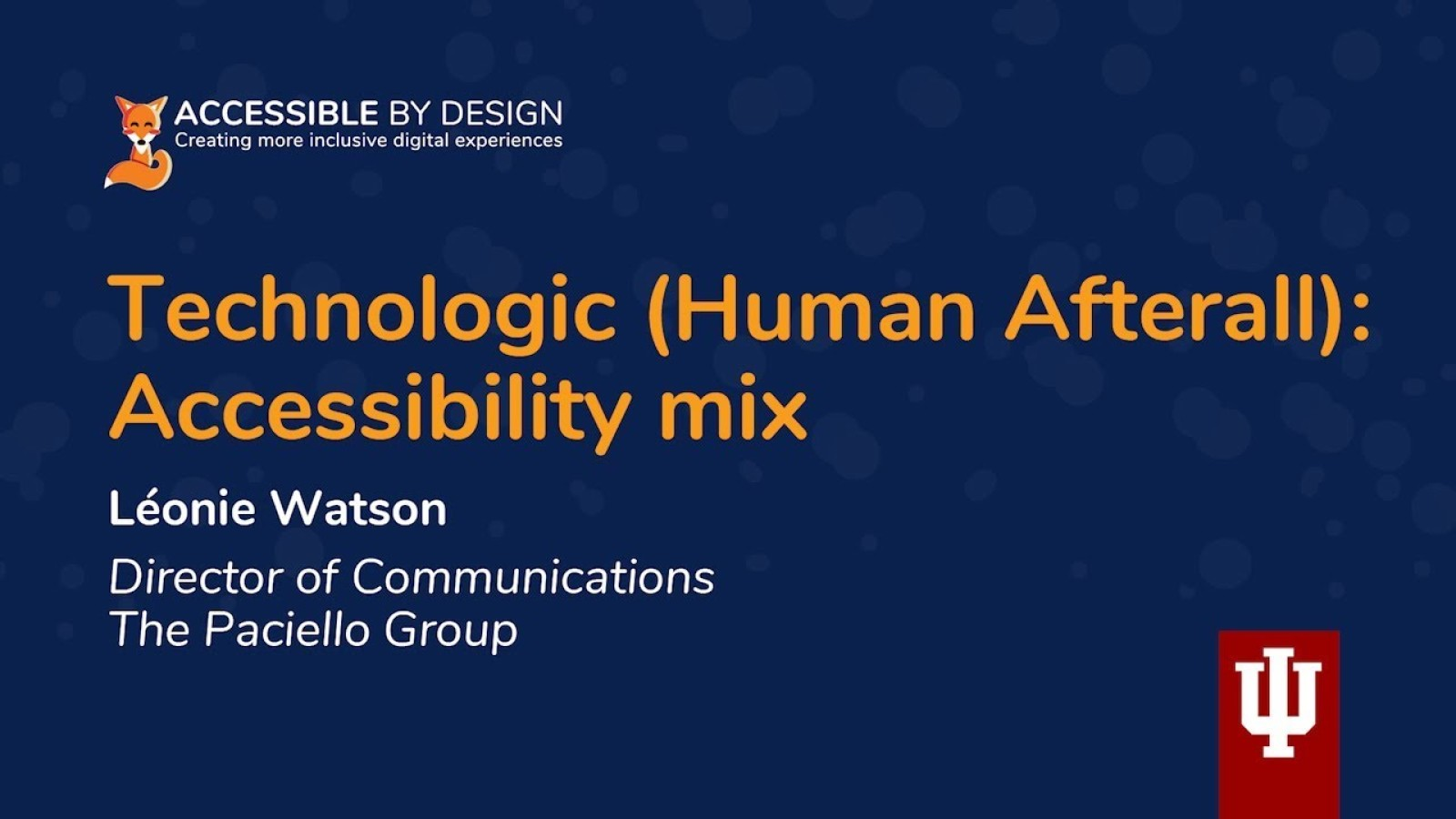 Technologic (Human afterall): Accessibility mix
