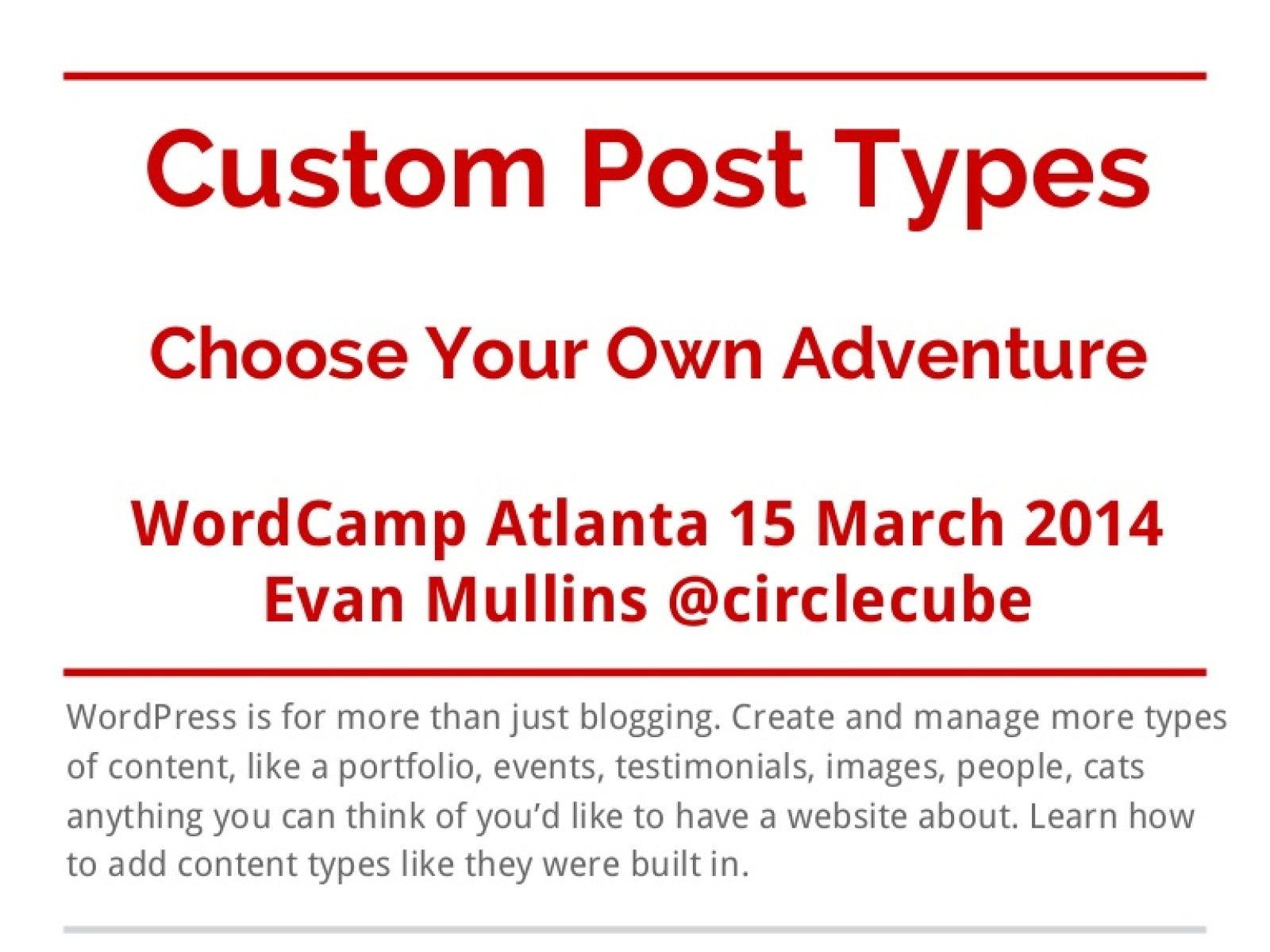Custom Post Types or Choose Your Own Adventure
