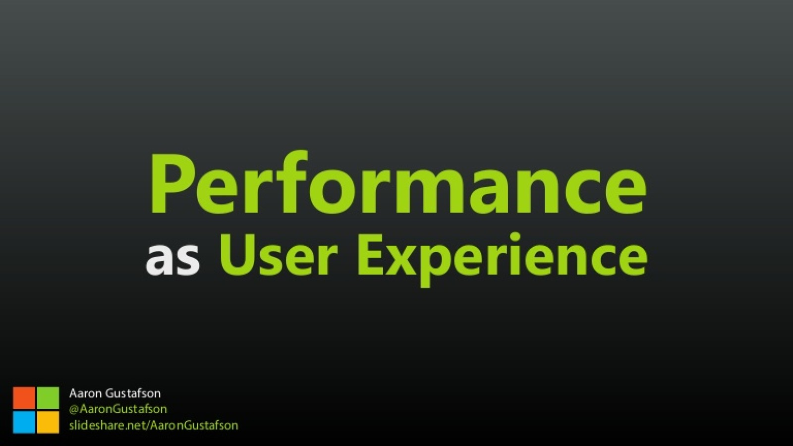 Performance as User Experience